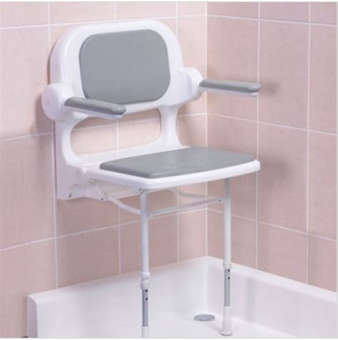 fold up shower bench fold up padded shower seat with back and arms