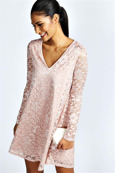 lace sleeve swing dress boohoo womens ladies marilyn long sleeve lace swing dress ebay