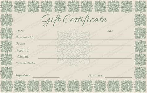 elegant gift certificate template all templates deal