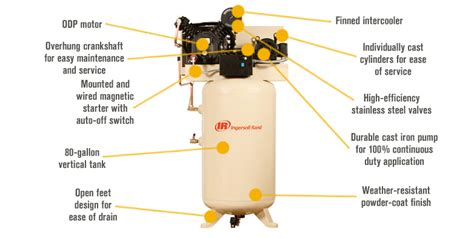 ingersoll rand type  reciprocating air compressor  hp  volt  phase model