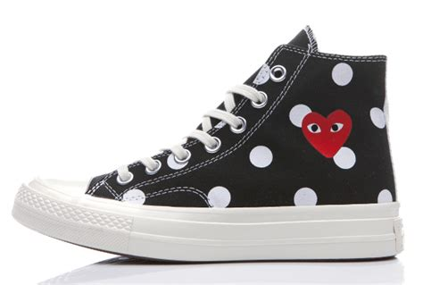 Converse 1970s Cdg Play Low Black White converse 1970s comme des garcons polka dot play black high top chuck all shoes