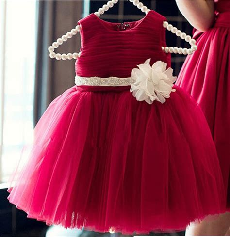 ls  baby clothes simple red tutu sundressivory flower