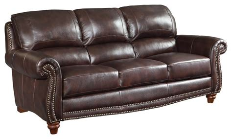brown leather couch with nailheads brown leather sofa with nailheads traditional sofas