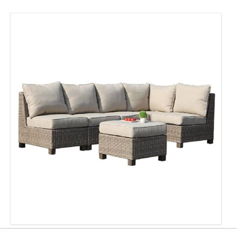 patio sectionals shop allen roth sea palms 6 piece warm gray wicker