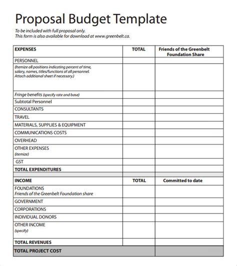 budget proposal template 6 free sles exles format