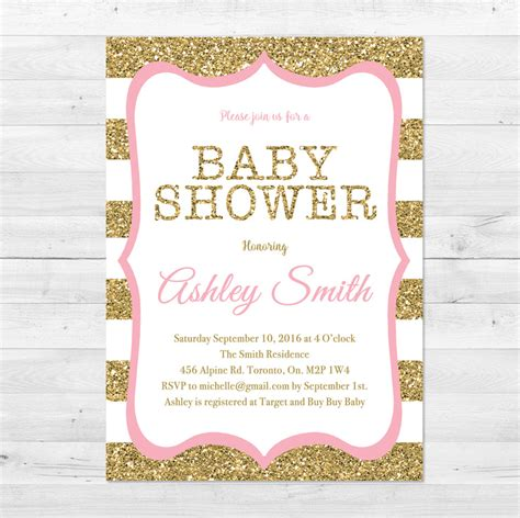 Gold Baby Shower by Baby Shower Invitation Pink And Gold Baby Shower