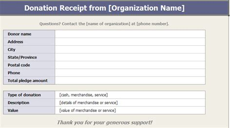 charitable receipt template charitable donation receipts template donation receipt
