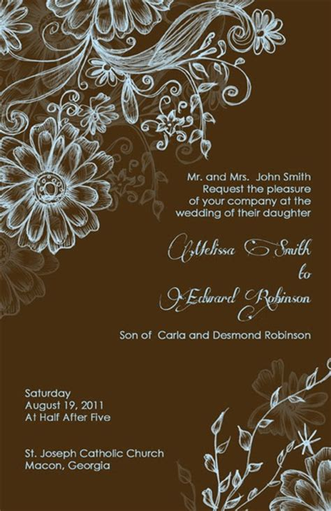 brown wedding invitations and beautiful wedding invitations for free blue
