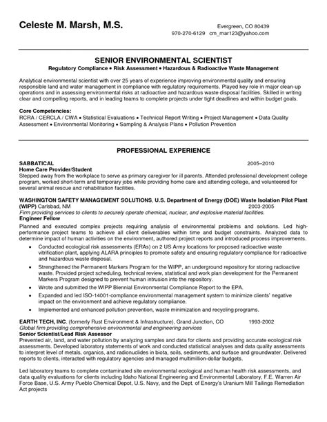 Domestic Engineer Resume Examples by Environmental Scientist Resume Free Excel Templates