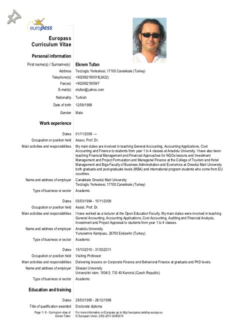 Example For A Resume by Europass Cv 28 09 2012 Tufan
