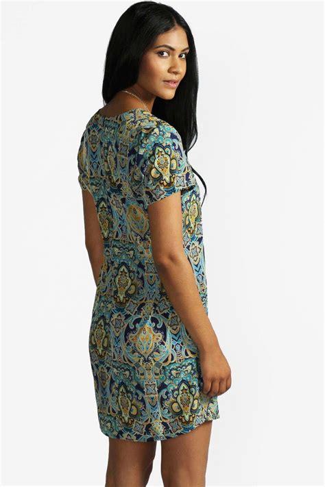 Print Sleeve Shift Dress paisley print sleeve shift dress