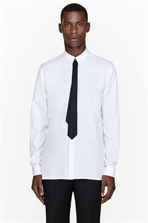 White Shirt Black by Kris Assche White Black Tie Print Shirt In White For Lyst