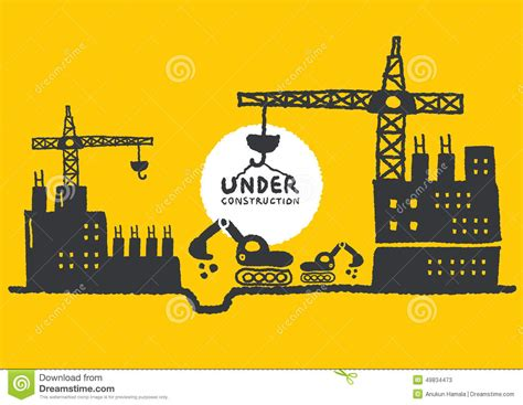 site clipart illustration of construction site with building