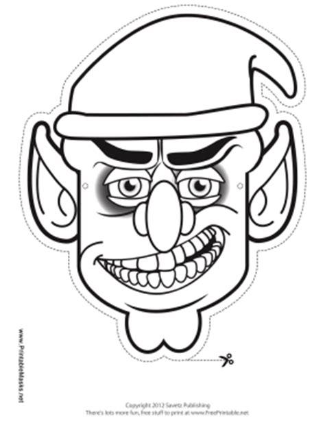 printable goblin mask printable male goblin mask to color mask