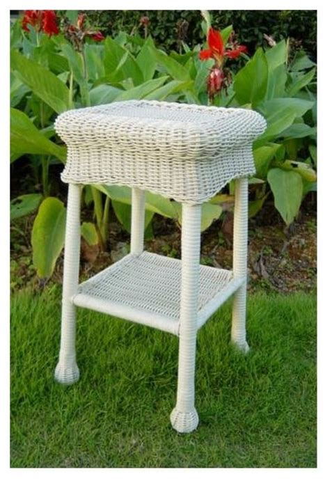 White Wicker Patio Table Wicker Resin Steel Patio Side Table White Contemporary Outdoor Side Tables By Shopladder