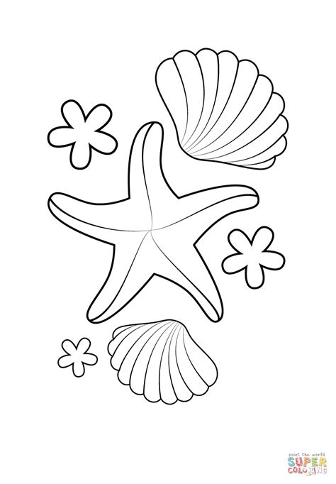shell coloring pages starfish and shells coloring page free printable