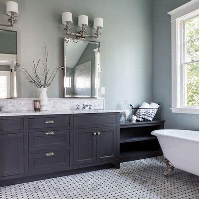 painted bathroom pale grey blue dark grey vanity