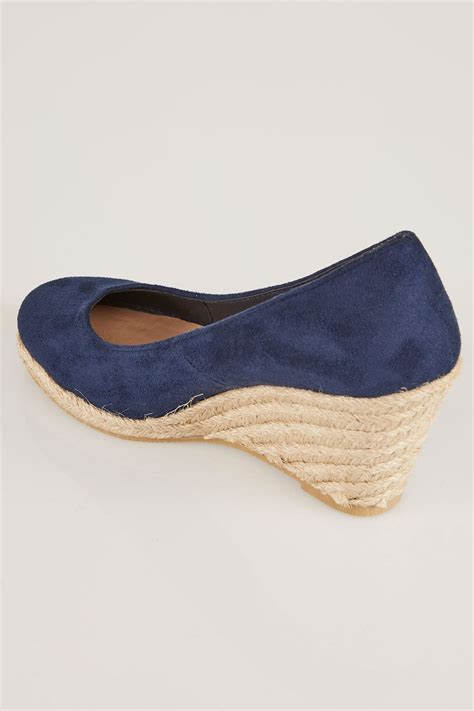 comfortable closed toe wedges navy comfort insole closed toe espadrille wedges in eee fit