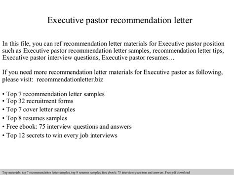 Reference Letter For Student From Pastor Executive Pastor Recommendation Letter