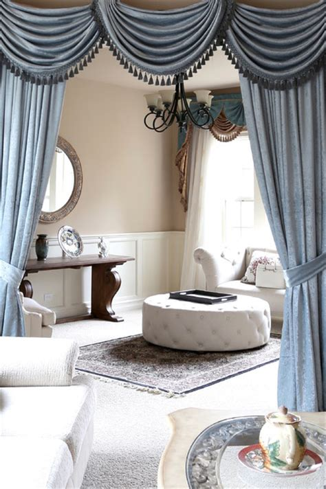 Swag Curtains For Living Room Ideas Valance Curtains With Swags And Tails By Celuce Traditional Living Room Seattle By