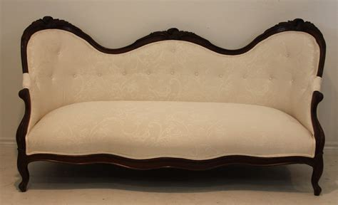 white vintage couch american victorian antique upholstered sofa settee in