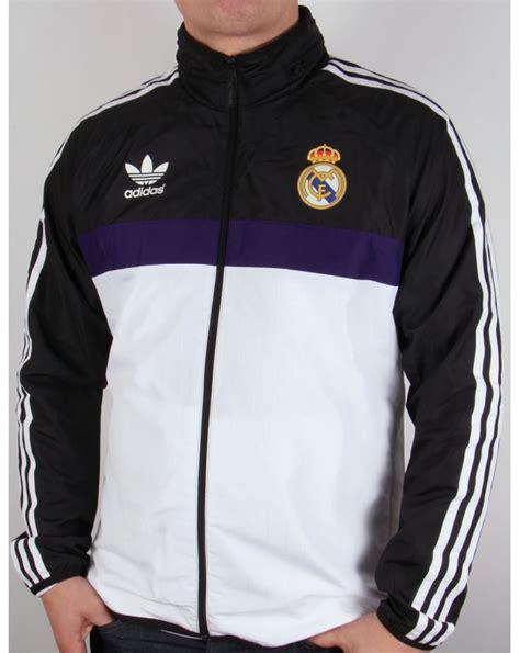 Jaket Windcheater Black Real Madrid adidas originals real madrid windbreaker white black jacket coat mens