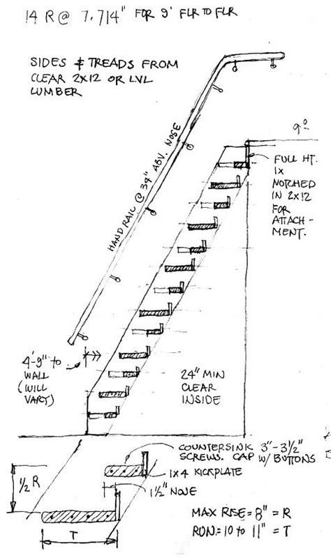 Wooden Loft Ladder With Handrail Alternate Tread Ladder Stair Or Jefferson Stair