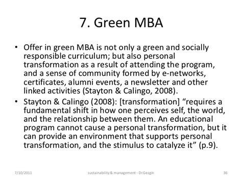 With An Mba In Enviromental Sustainability by Sustainability Management Education India 2011