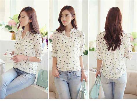 Baju Blouse Panjang Cewek Korea blouse lengan panjang motif cantik 2016 jual model