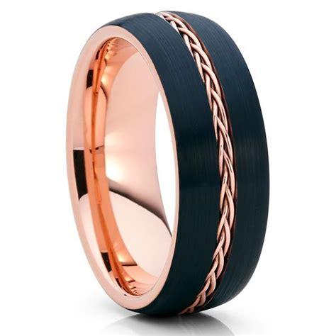 Wedding Band Tungsten by 8mm Gold Tungsten Black Wedding Band Braid Ring