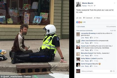 Internet Police Meme - canadian police officer sitting on sidewalk to chat with