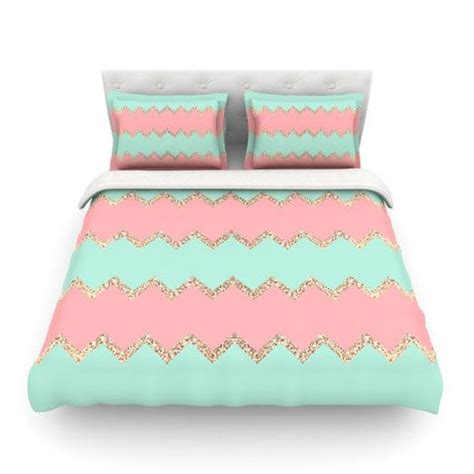 coral chevron bedding monika strigel quot avalon soft coral and mint chevron quot queen