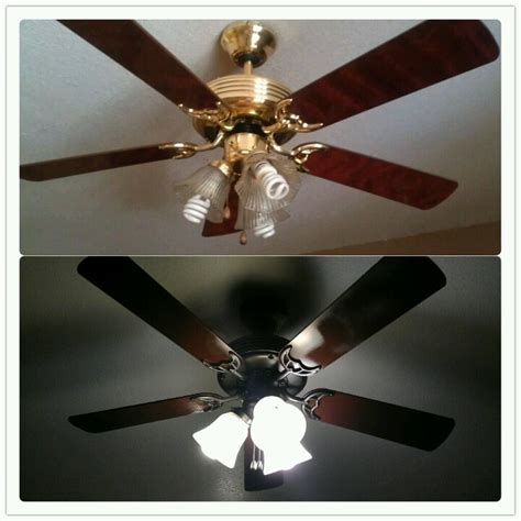 spray paint ceiling fan got rid of gold 70 s ceiling fan 8 can of rustoleum