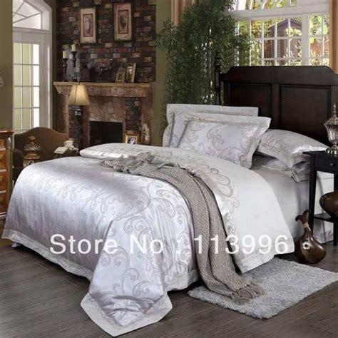 white satin comforter set king or queen bedding set silver white jacquard satin silk