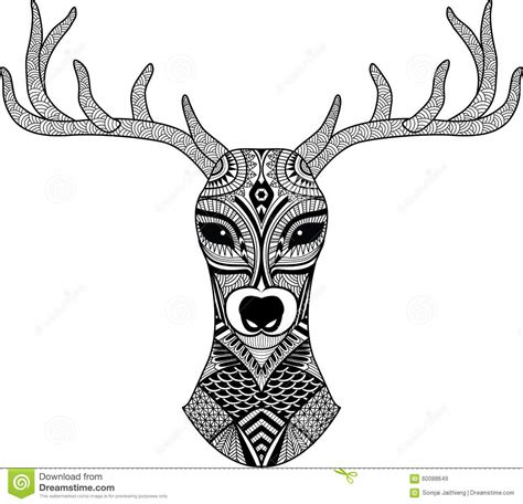 deer head stylized in zentangle style tribal tattoo
