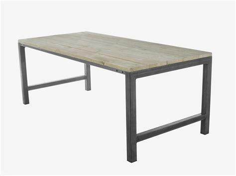 eetkamertafel stalen onderstel steigerhouten tafel met stalen onderstel tafels met metaal