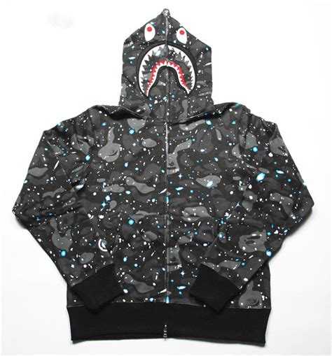Bape Space Camo Shark Zip Hoodie a bathing ape bape space camo zip shark hoodie black glow