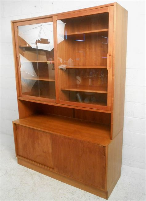 Century Cabinets by Mid Century Modern Teak Curio Cabinet For Sale At
