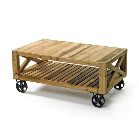 chatsworth reclaimed wood coffee table on wheels