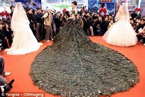 strut up the aisle in the 1 5m wedding dress made up of