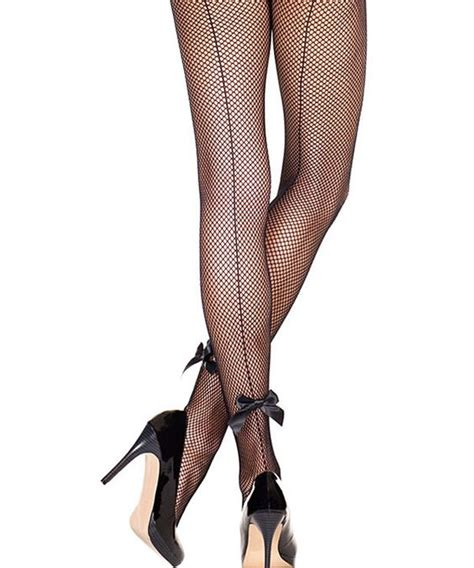 Bow Fishnet Tights fishnet tights bow back and black bows on