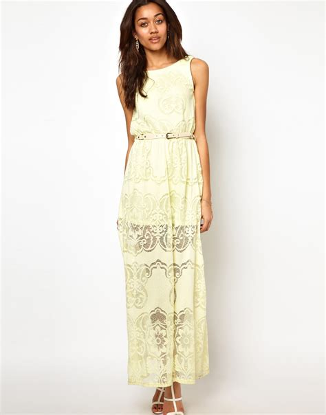 River island Lace Maxi Dress in Yellow   Lyst