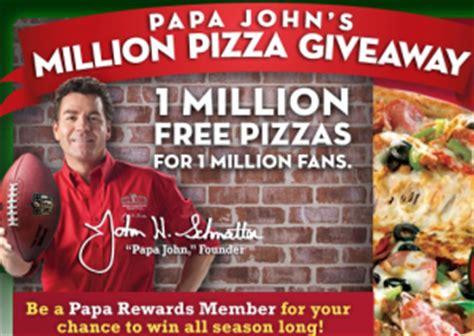 Papa Johns Giveaway - papa john s pizza million pizza giveaway