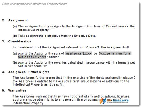 intellectual property agreement template assignment of intellectual property rights deed