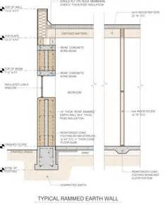 rammed earth interior section detail drawing