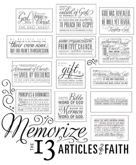 printable articles of faith 13 articles of faith free printable also links to a