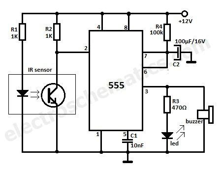 motion detector ir reflection alarm circuit