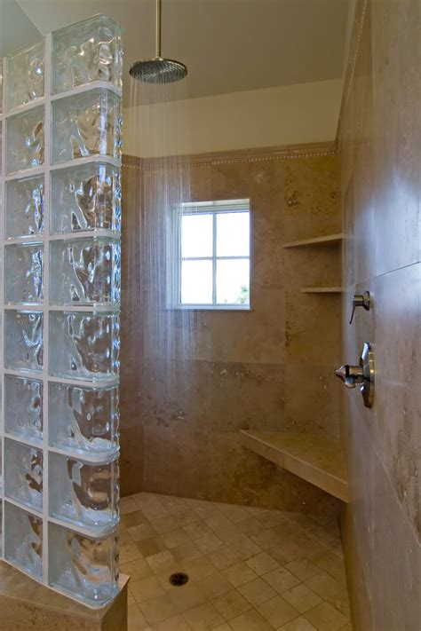 impressive glass block shower decorating ideas