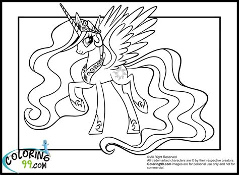 My Little Pony Princess Celestia Coloring Pages Team Colors My Pony Coloring Books