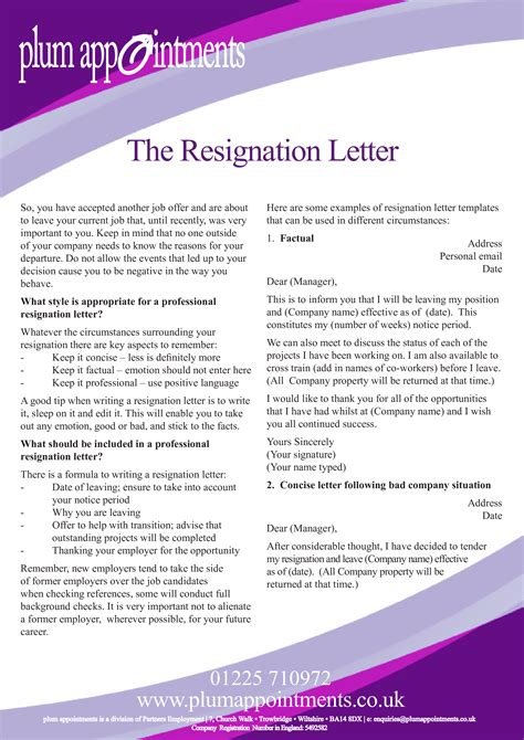 formal resignation letter due relocation templates